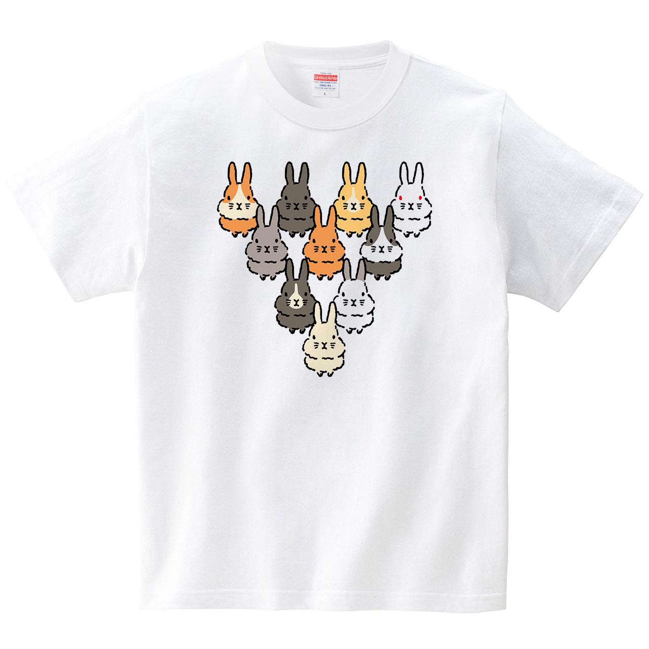 うさぎトライアングル(Tシャツ・ホワイト)(イシイミホ)