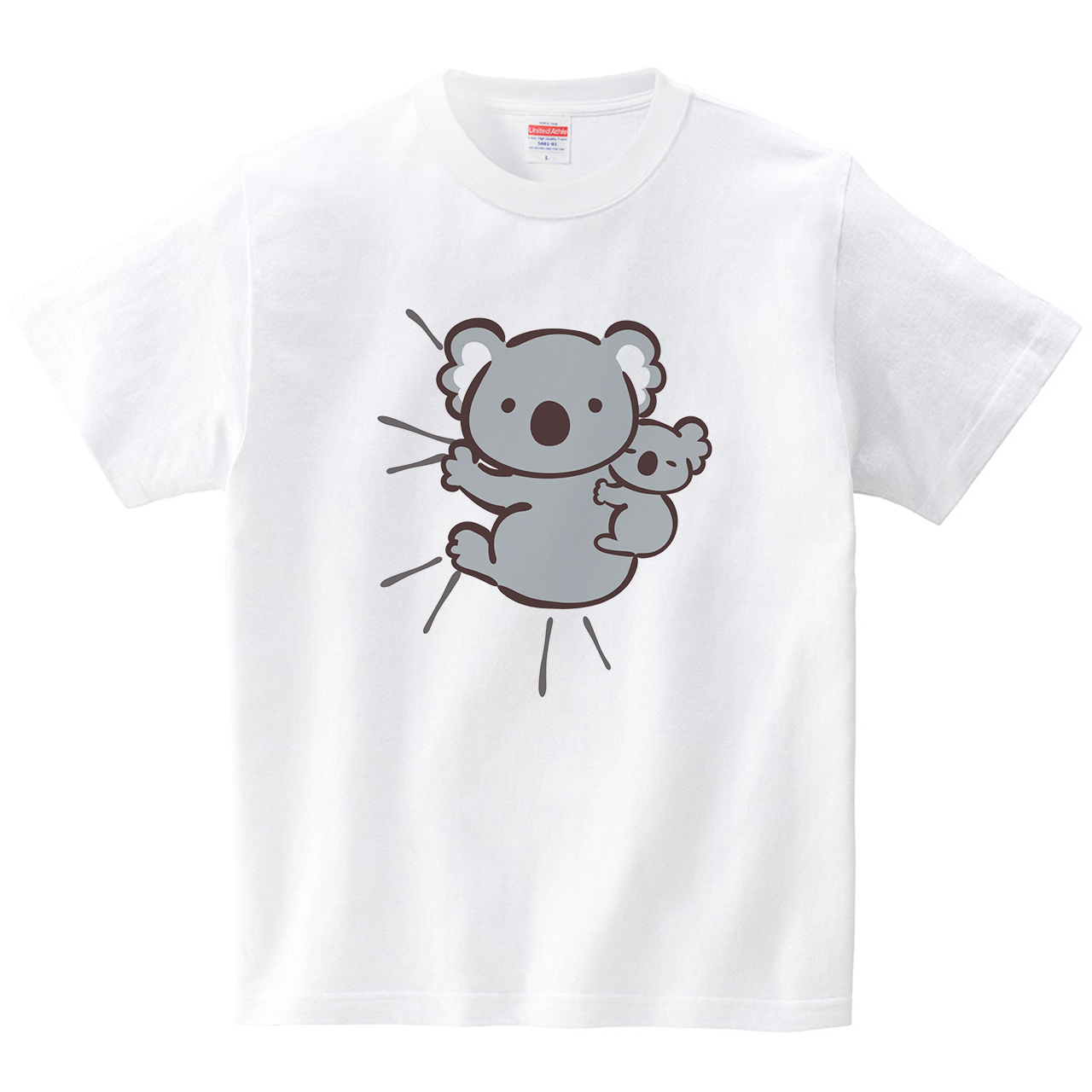 しがみつくコアラ(Tシャツ・ホワイト)(あずき*)