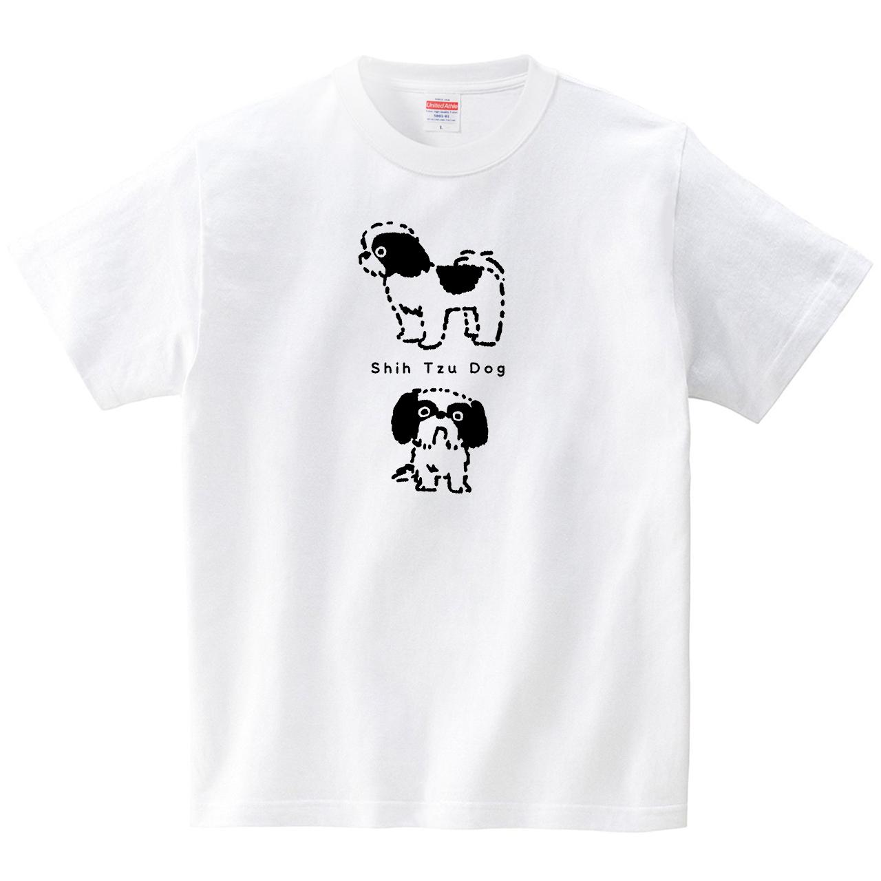 シーズー犬(Tシャツ・ホワイト)(イシイミホ)