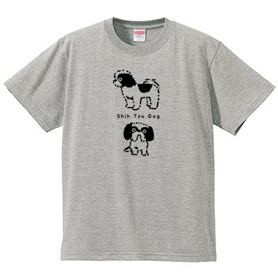 シーズー犬 グレー(Tシャツ・ミックスグレー)(イシイミホ)