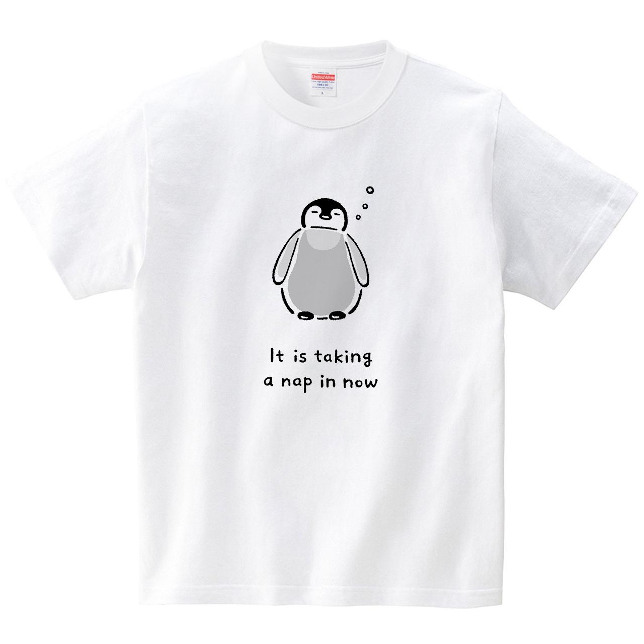 ペンギンのお昼寝(Tシャツ・ホワイト)(tsukamotojunko)