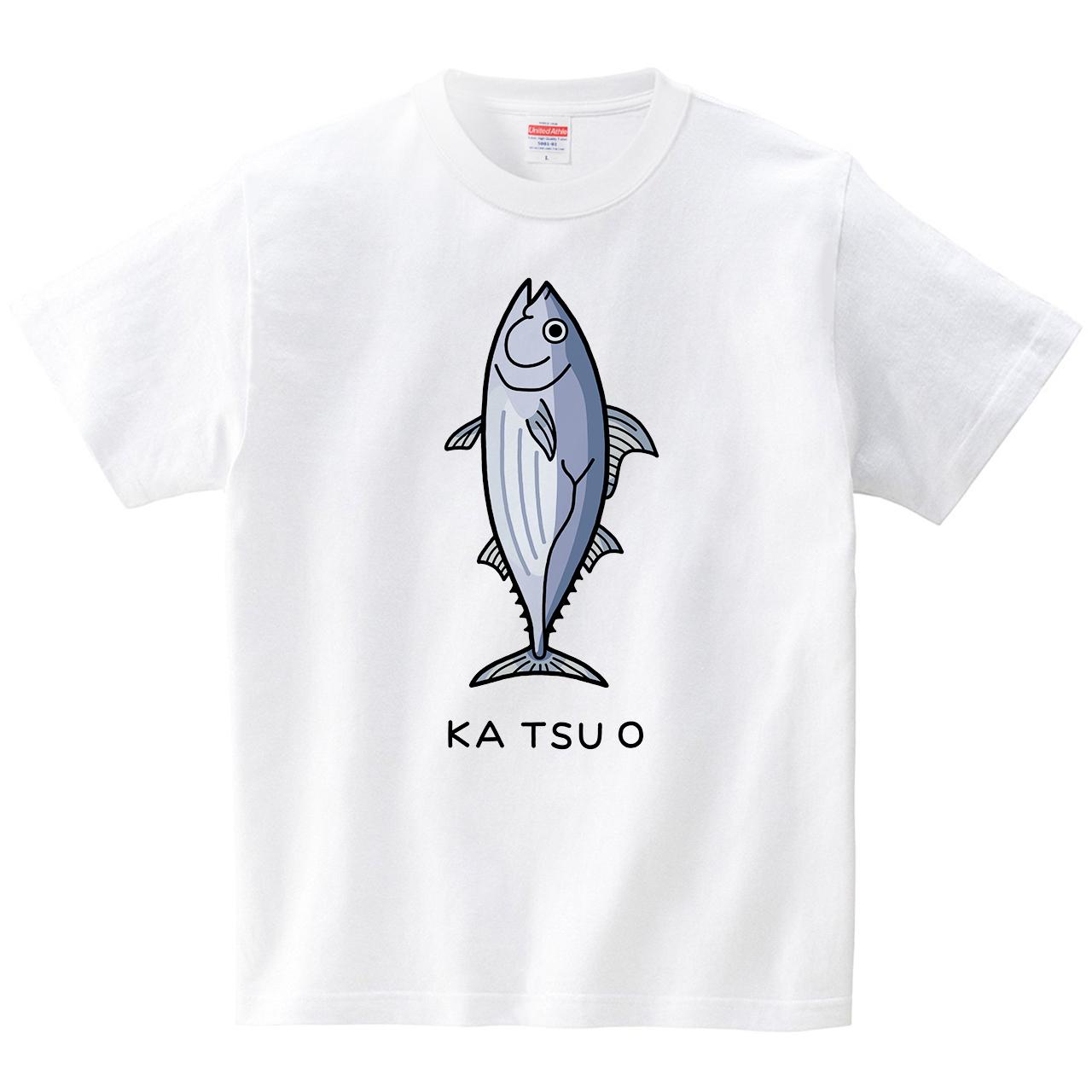 カツオ(Tシャツ・ホワイト)(tsukamotojunko)