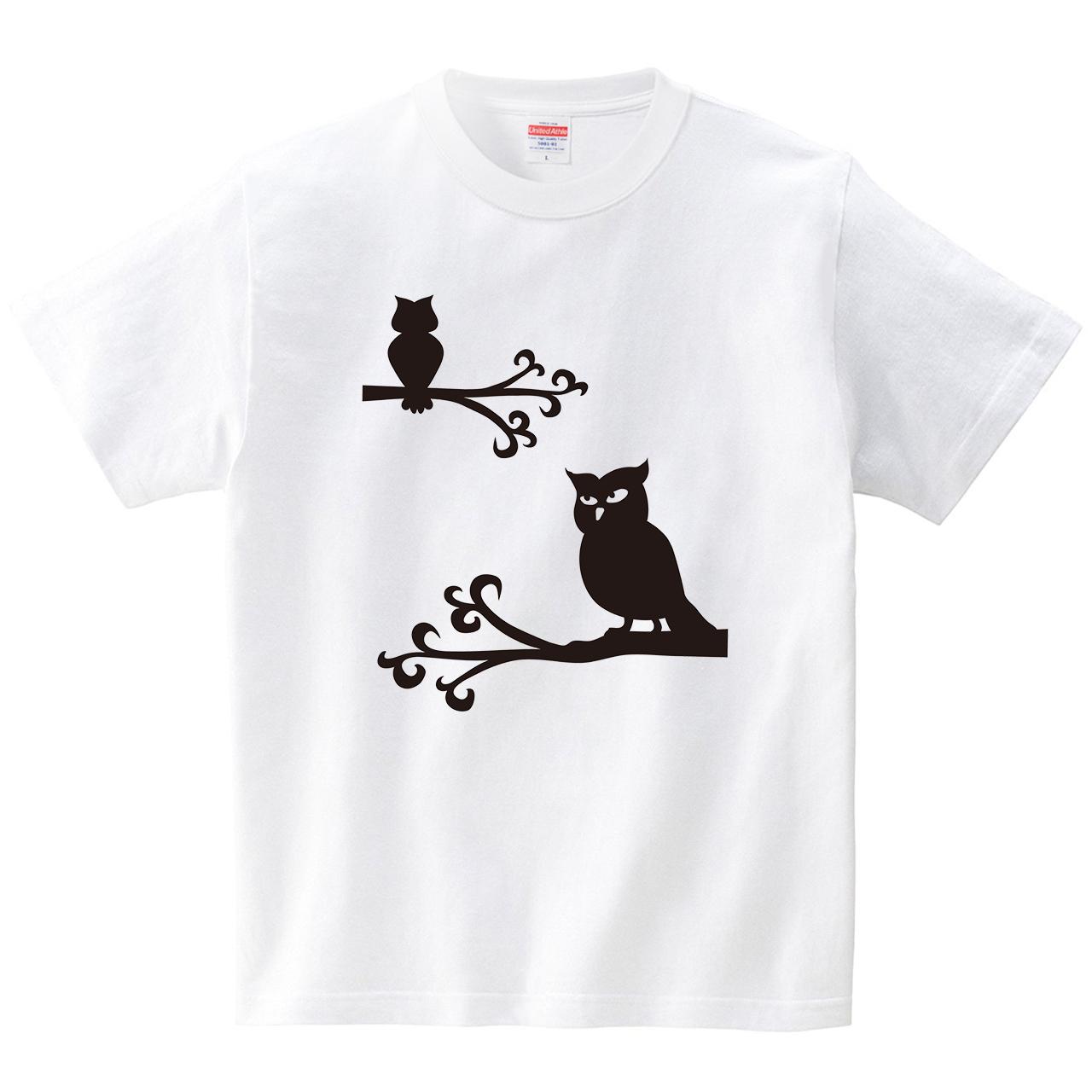 ミミズクさん?フクロウさん?(Tシャツ・ホワイト)(CHATON_CATON_T)