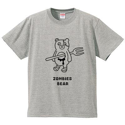 ゾンビーズ クマ(Tシャツ・ミックスグレー)(tsukamotojunko)