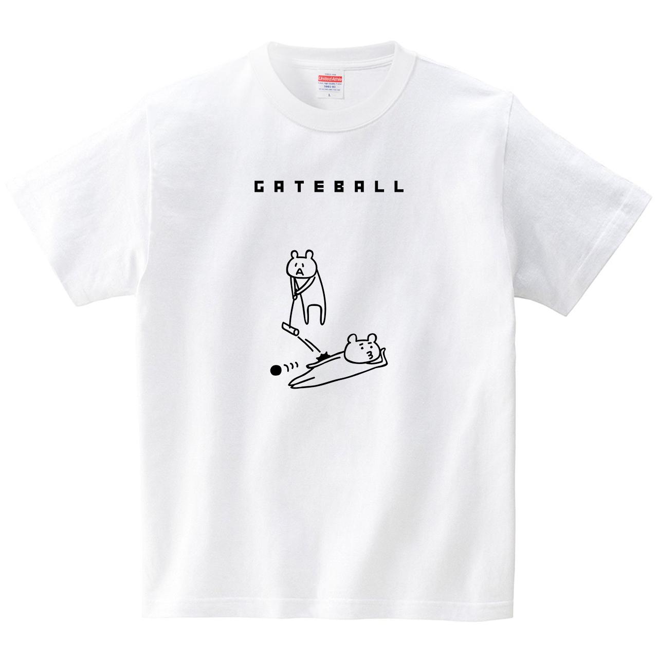 横になるクマとゲートボール(Tシャツ・ホワイト)(オワリ)