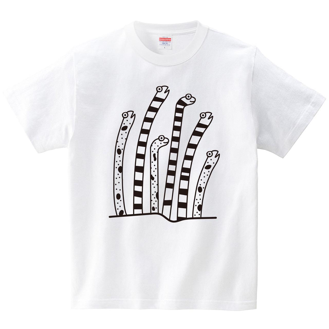 長いチンアナゴさんたち(Tシャツ・ホワイト)(CHATON_CATON_T)