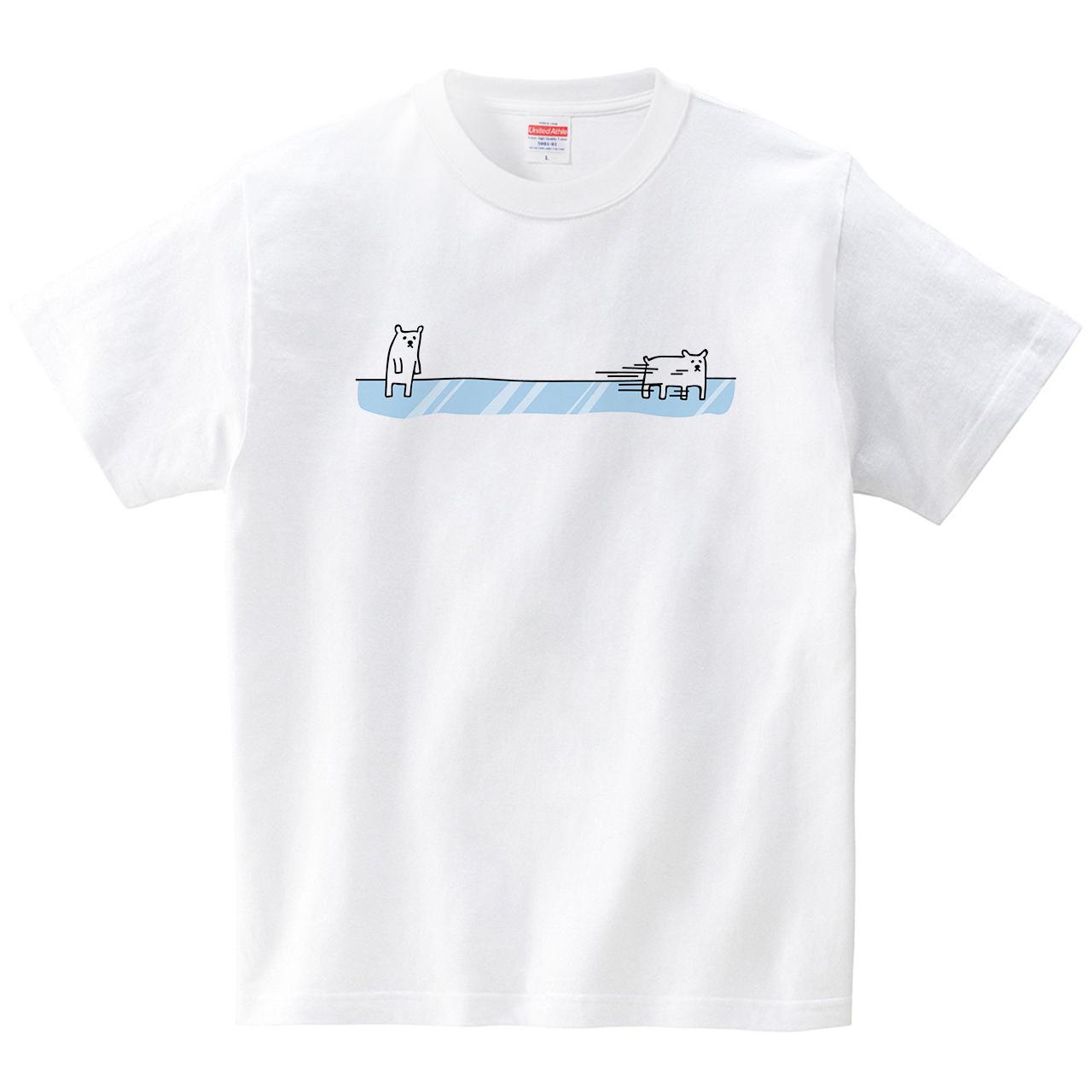 滑るホッキョクグマ(Tシャツ・ホワイト)(オワリ)