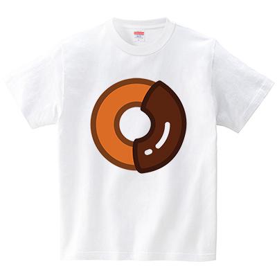 チョコがけドーナツ(Tシャツ・ホワイト)(犬田猫三郎)