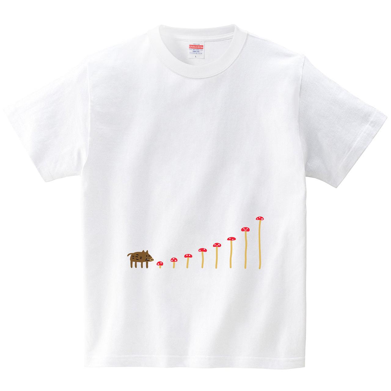 キノコを食べるイノシシ(Tシャツ・ホワイト)(オワリ)