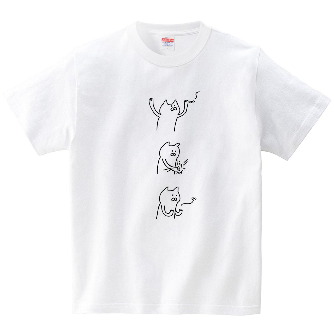 虫を叩くネコ(Tシャツ・ホワイト)(オワリ)