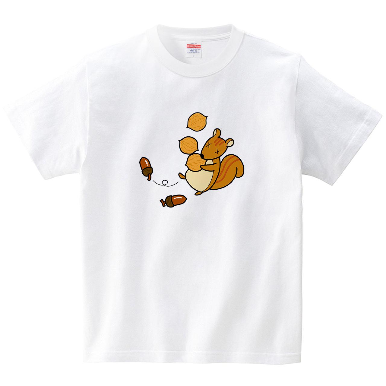 あわてんぼのリス(Tシャツ・ホワイト)(武田五条)