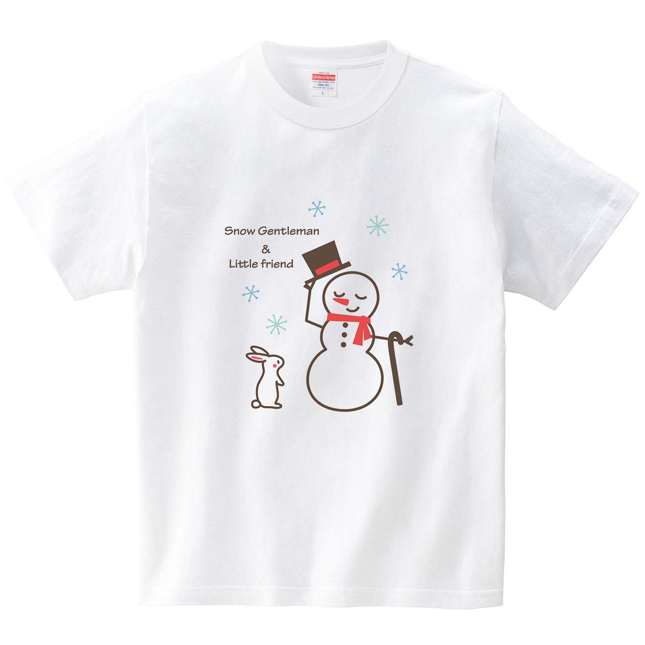スノーマンと白兎(Tシャツ・ホワイト)(あずき*)