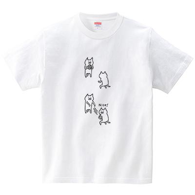 ネコチームのナイスパス(Tシャツ・ホワイト)(オワリ)