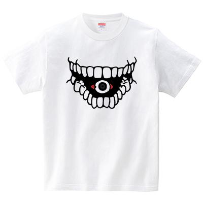 怖い口と眼(Tシャツ・ホワイト)(犬田猫三郎)