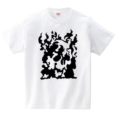 火炎どくろ(Tシャツ・ホワイト)(犬田猫三郎)