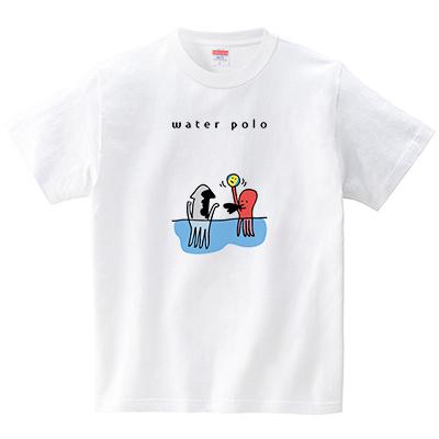 水球で争うタコとイカ(Tシャツ・ホワイト)(オワリ)