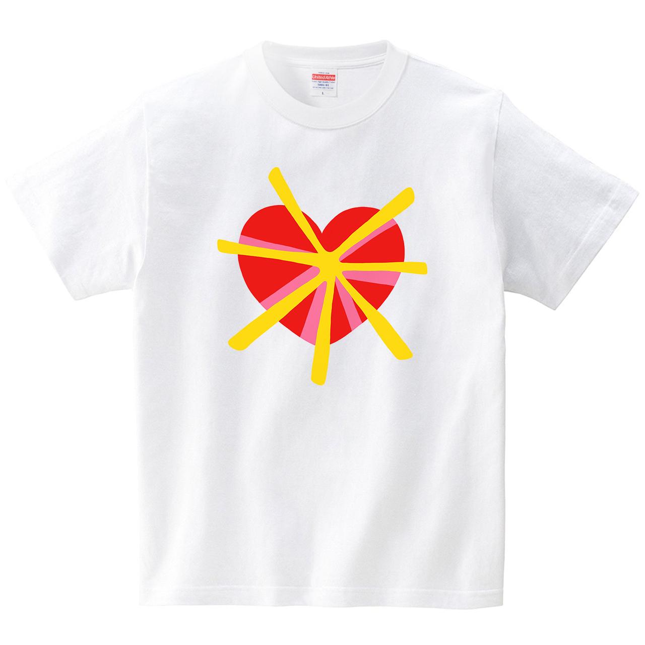 ハートビーム(Tシャツ・ホワイト)(tsukamotojunko)