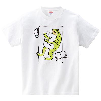 カエル時間(Tシャツ・ホワイト)(梅川紀美子)