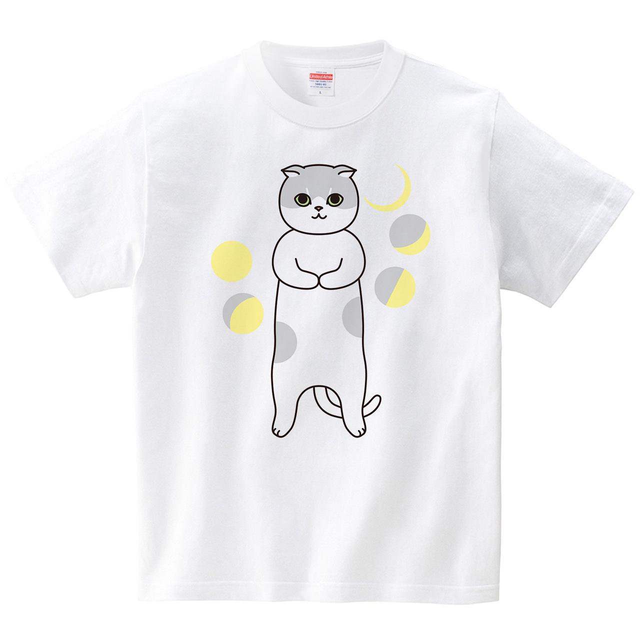 まるまるネコ(Tシャツ・ホワイト)(梅川紀美子)
