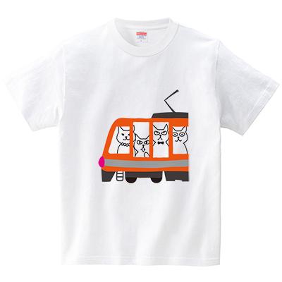 電車でおでかけ(Tシャツ・ホワイト)(CHATON_CATON_T)