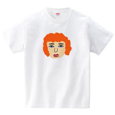 オレンジ髪の人(Tシャツ・ホワイト)(CHATON_CATON_T)