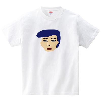 ベレー帽の人(Tシャツ・ホワイト)(CHATON_CATON_T)