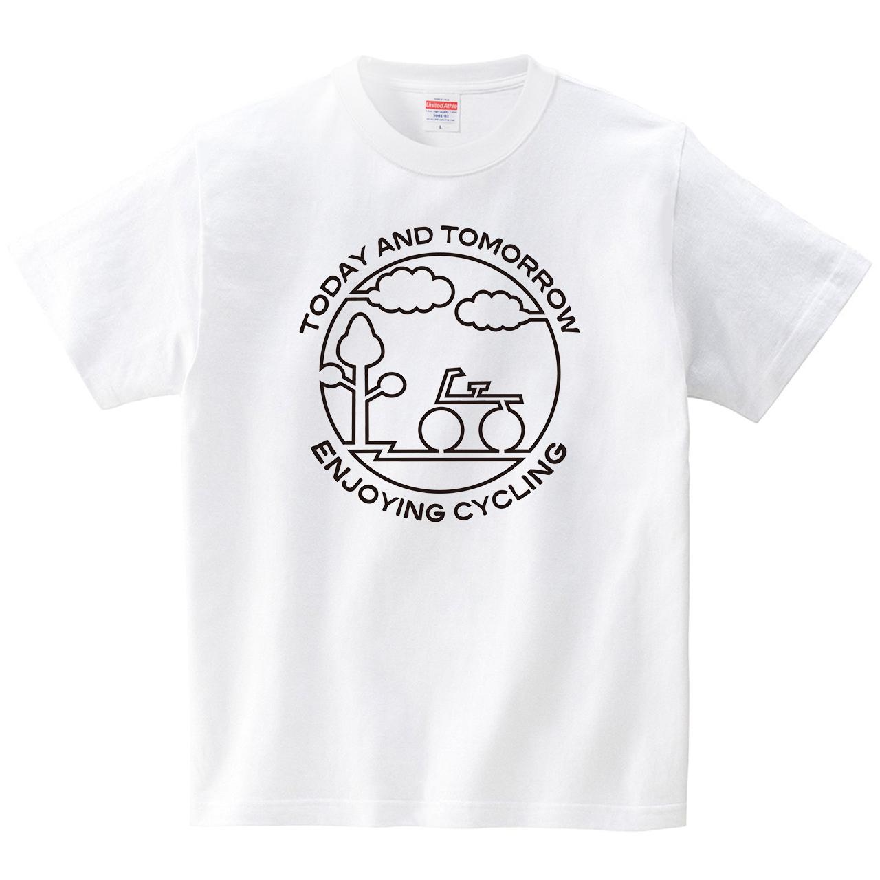 楽しいサイクリング(Tシャツ・ホワイト)(CHATON_CATON_T)