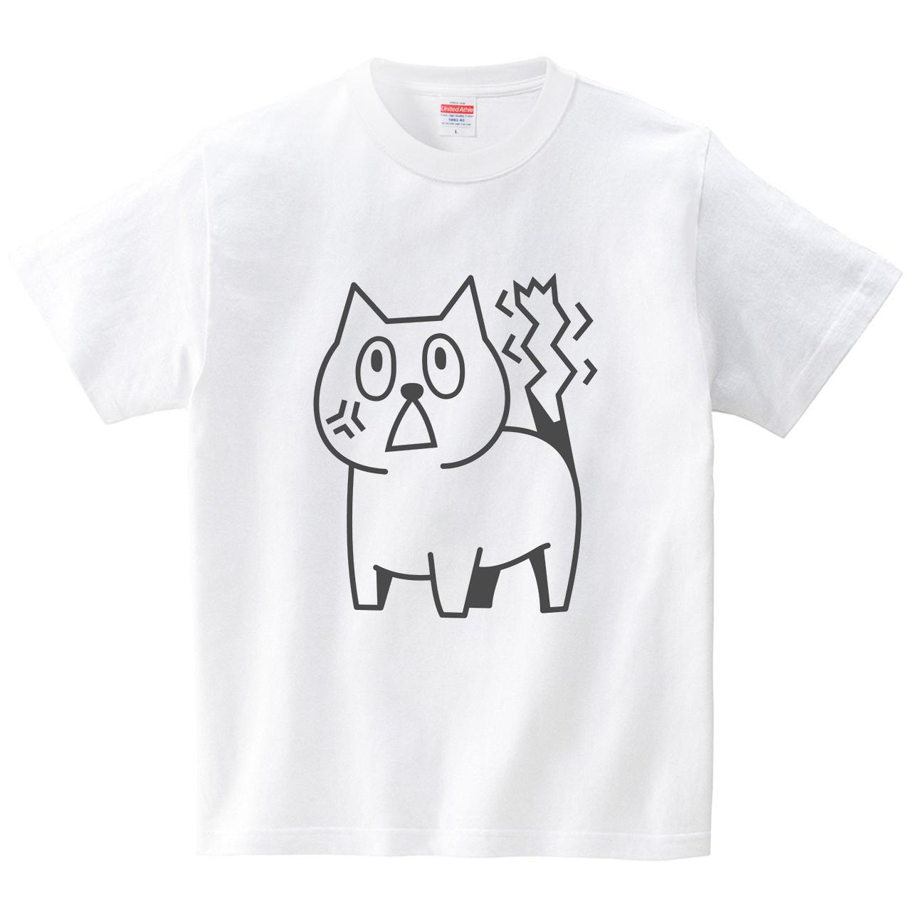 激怒にゃんこ(Tシャツ・ホワイト)(犬田猫三郎)