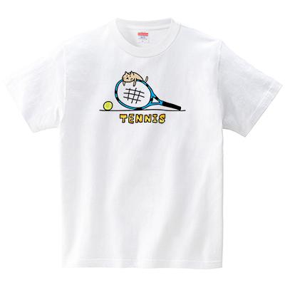 子ネコとテニスラケット(Tシャツ・ホワイト)(オワリ)